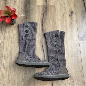 UGG Cardi Knit Boots Size 7 Gray